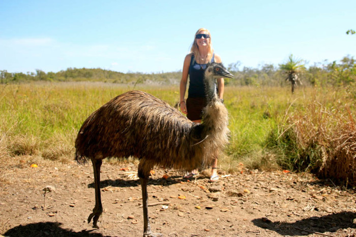 Wild emu and Kat on a Blue Adventures tour